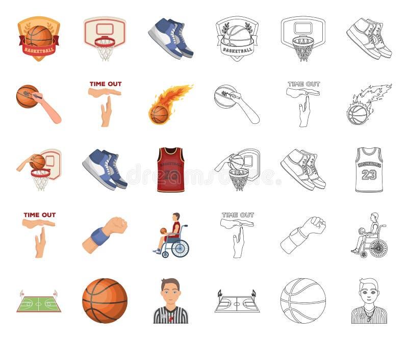 Basketbal en attributenbeeldverhaal, overzichtspictogrammen in vastgestelde inzameling voor ontwerp Van het basketbalspeler en ma stock illustratie