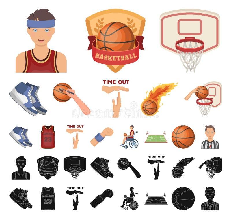Basketbal en attributenbeeldverhaal, zwarte pictogrammen in vastgestelde inzameling voor ontwerp Van het basketbalspeler en mater stock illustratie