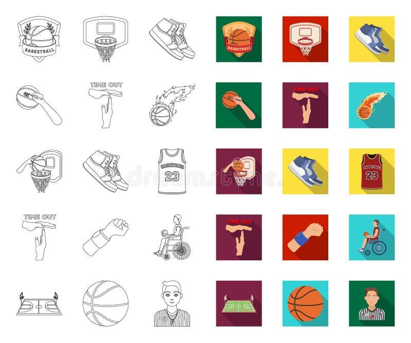 Basketbal en attributenoverzicht, vlakke pictogrammen in vastgestelde inzameling voor ontwerp Basketbalspeler en materiaal vector royalty-vrije illustratie