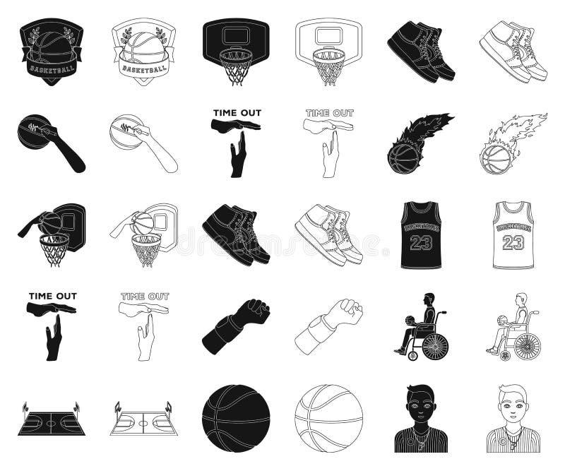 Basketbal en attributenzwarte, overzichtspictogrammen in vastgestelde inzameling voor ontwerp Basketbalspeler en materiaal vector vector illustratie