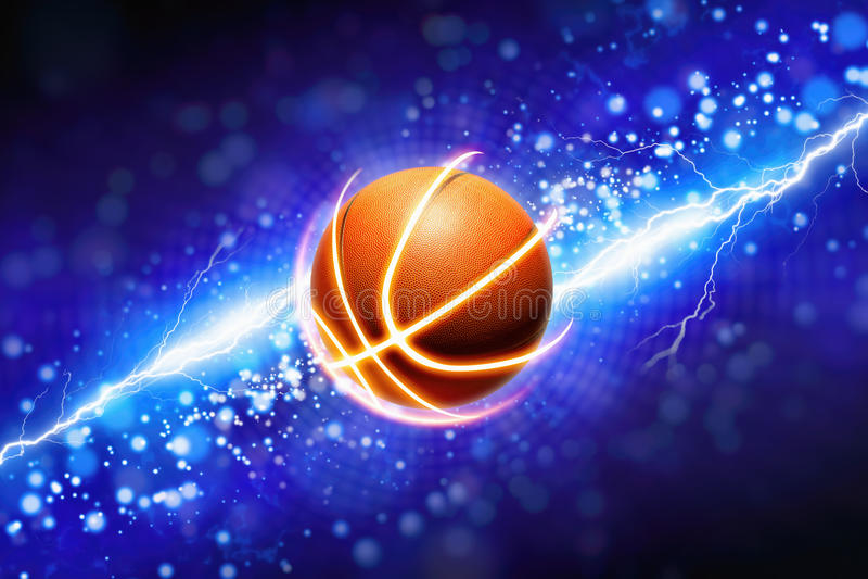 Basketbal en krachtige blauwe bliksem royalty-vrije illustratie