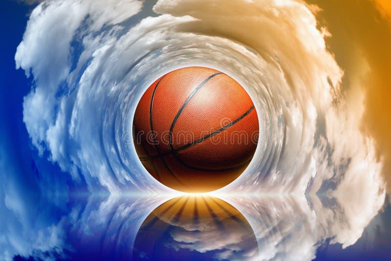Basketbal in hemel vector illustratie