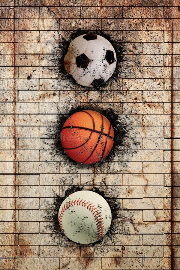 Basketbal, honkbal en voetbal royalty-vrije illustratie