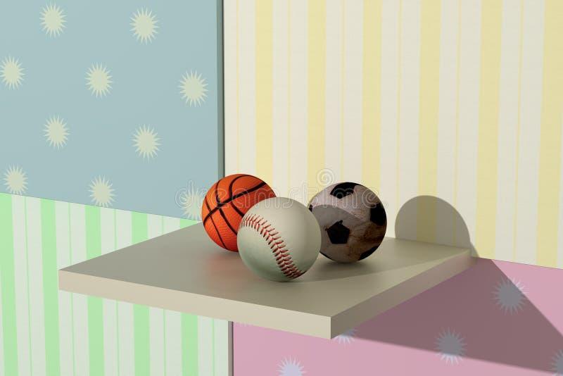 Basketbal, honkbal, voetbal vector illustratie