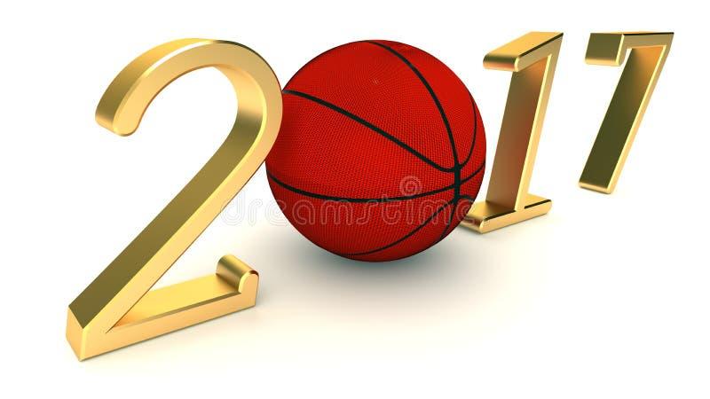 Basketbal 2017 jaar op een Witte Achtergrond vector illustratie