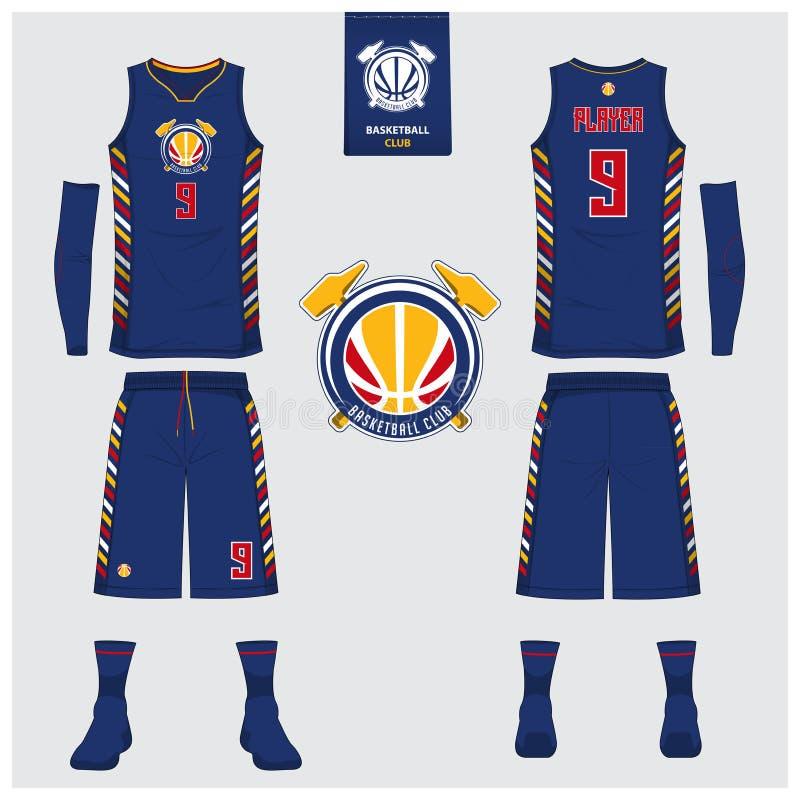 Basketbal Jersey, borrels, sokkenmalplaatje voor basketbalclub Voor en achter eenvormige meningssport De spot van de mouwloos ond royalty-vrije illustratie