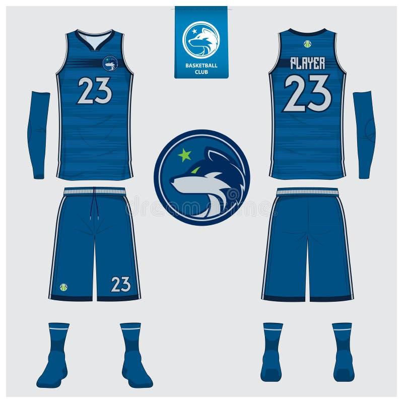 Basketbal Jersey, borrels, sokkenmalplaatje voor basketbalclub Voor en achter eenvormige meningssport De spot van de mouwloos ond stock illustratie