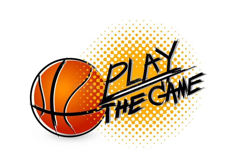 Basketbal met grungetypografie op witte achtergrond stock illustratie