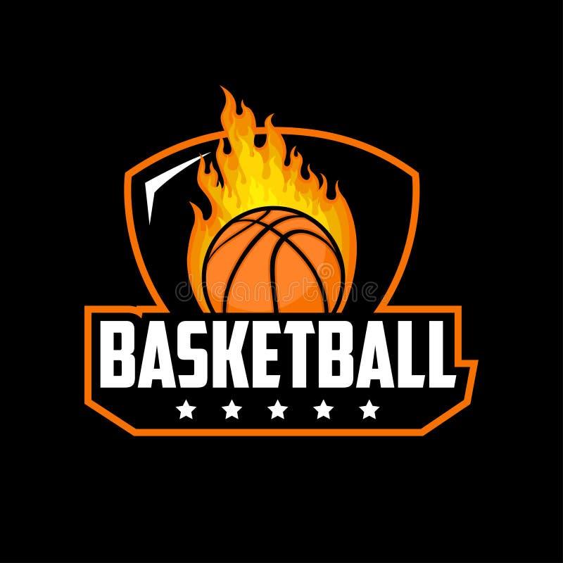 Basketbal met het embleemontwerp van de brandillustratie royalty-vrije illustratie
