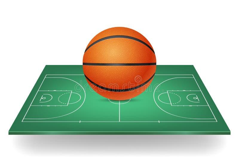 Basketbal op een groen hof royalty-vrije illustratie