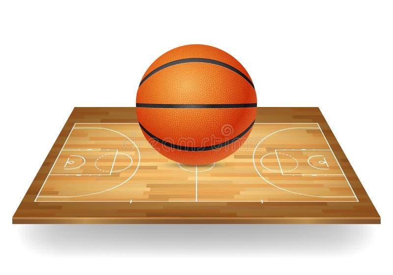 Basketbal op een houten hof royalty-vrije illustratie