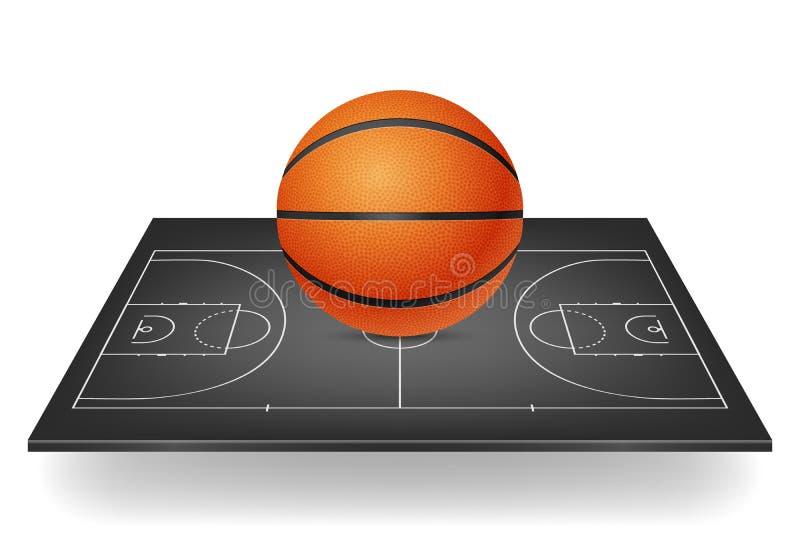 Basketbal op een zwart hof royalty-vrije illustratie