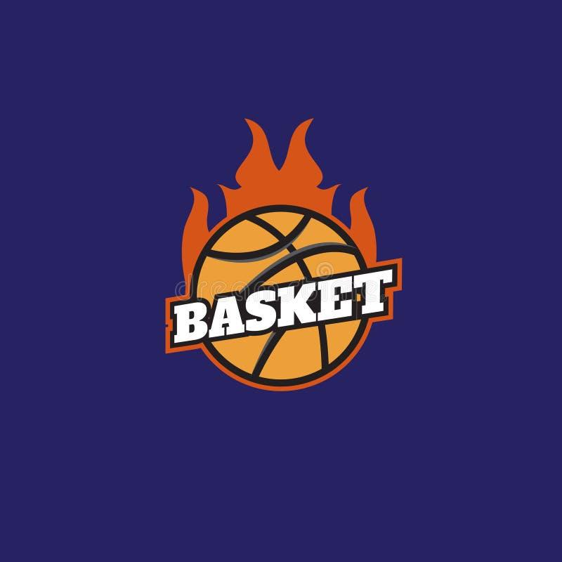 Basketbal op het embleem van brandtoernooien Basketbal logotypes, teken, royalty-vrije illustratie