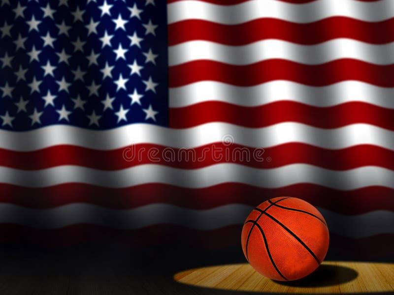 Basketbal op Hof met Amerikaanse Vlag vector illustratie
