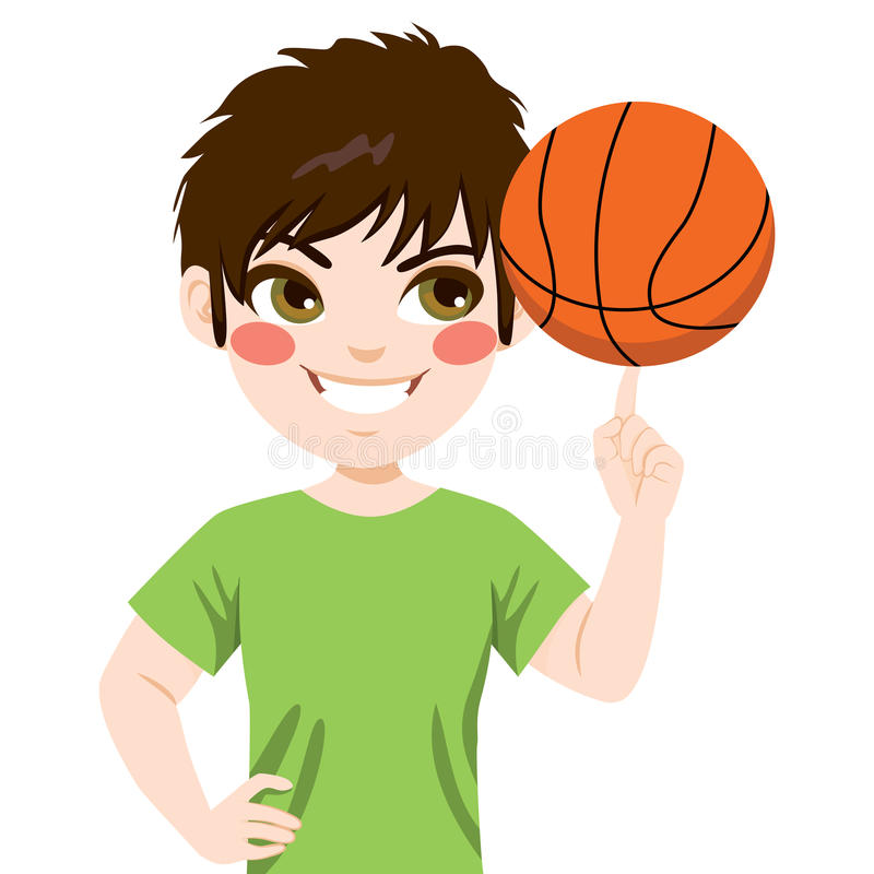 Basketbal spinnende Jongen vector illustratie