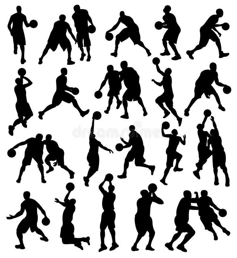 Basketbal, Sport, Atleet, Silhouet royalty-vrije illustratie