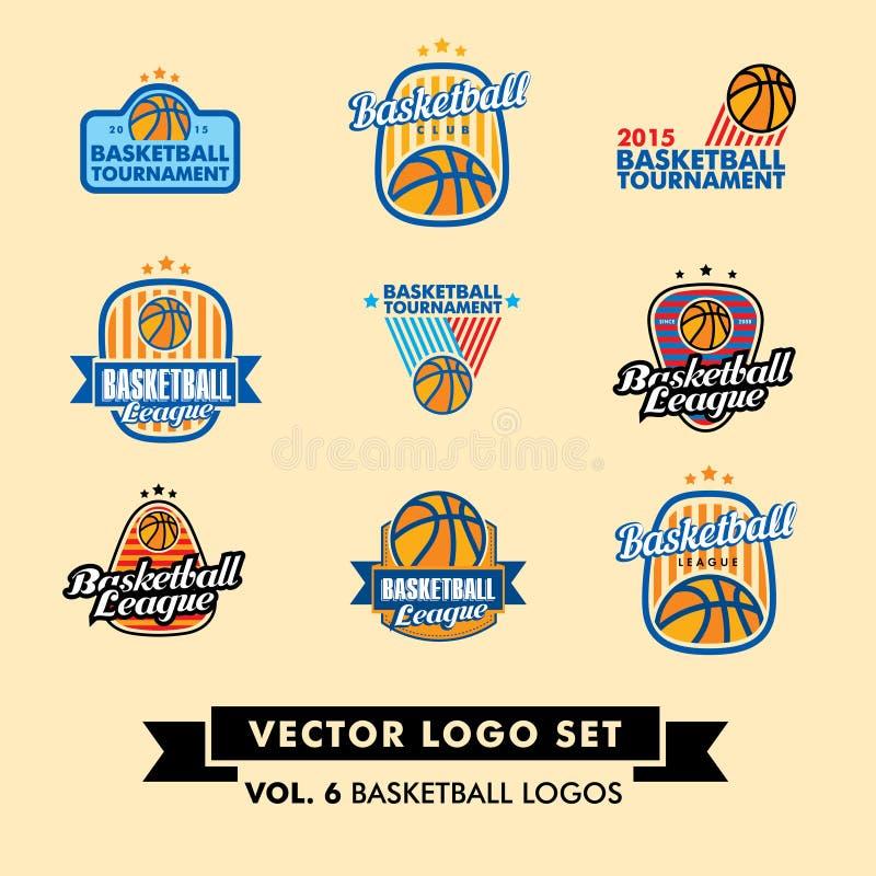Basketbal Vectorlogo set royalty-vrije stock foto