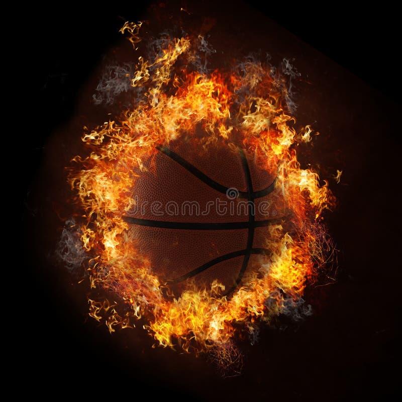 Basketbal in Vlammen royalty-vrije stock foto