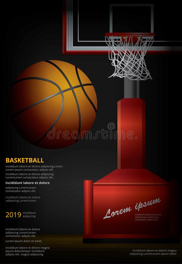 Basketbalaffiche die Vectorillustratie adverteren stock illustratie