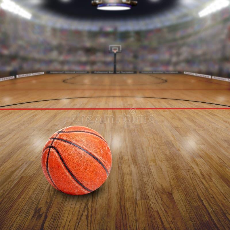 Basketbalarena met Bal op Hof en Exemplaarruimte stock fotografie