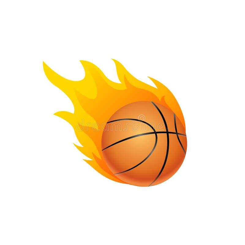 Basketbalbal in brandvlam Het beeldverhaalpictogram van de basketbalvuurbol Snel balembleem in ge?soleerde motie stock illustratie