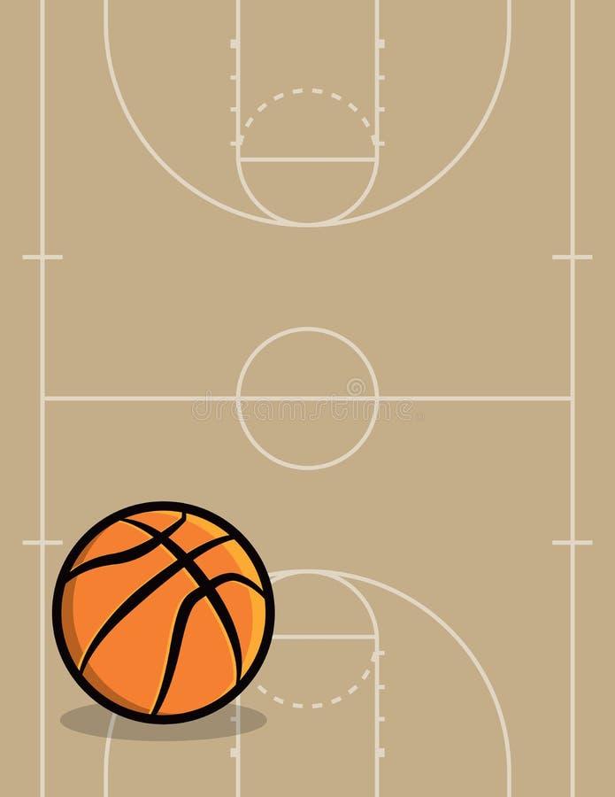 Basketbalbal en Hof Achtergrondillustratie stock illustratie