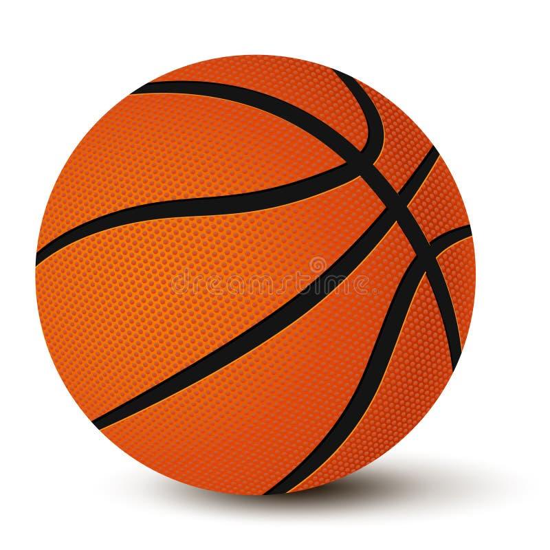 Basketbalbal met schaduw op witte achtergrond wordt geïsoleerd die vector illustratie