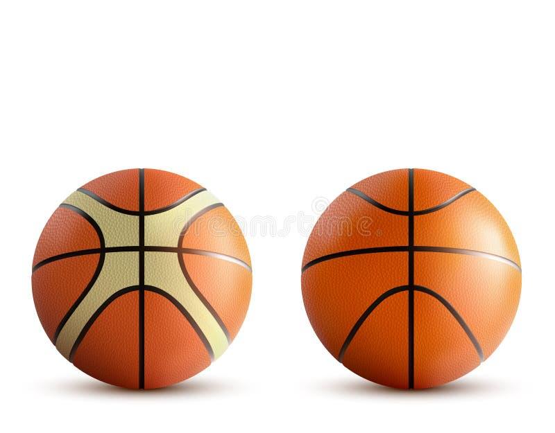 Basketbalballen geplaatst die op witte achtergrond worden geïsoleerd royalty-vrije illustratie