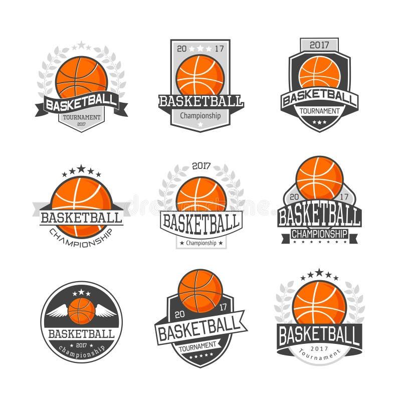 Basketbalcompetities Geplaatste Emblemen stock illustratie