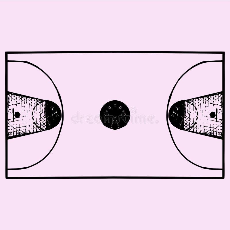 Basketbalgebied, hof, hoogste mening royalty-vrije illustratie