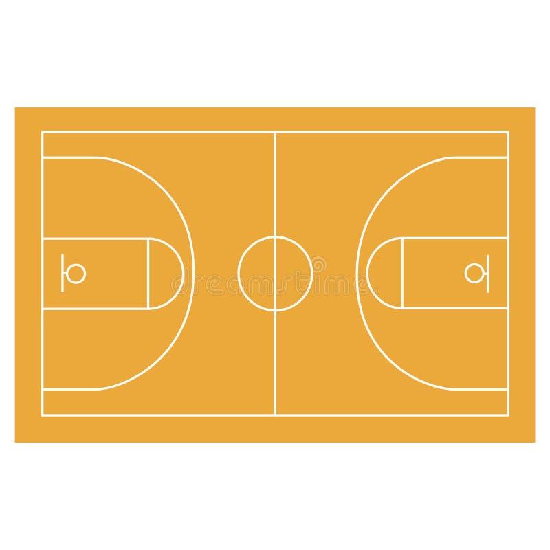 Basketbalgebied, hof, werf, FIBA, horisontal infographics, royalty-vrije illustratie