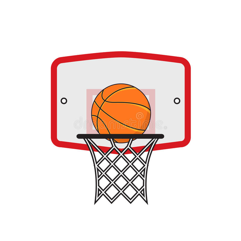 Basketbalhoepel en oranje bal stock illustratie