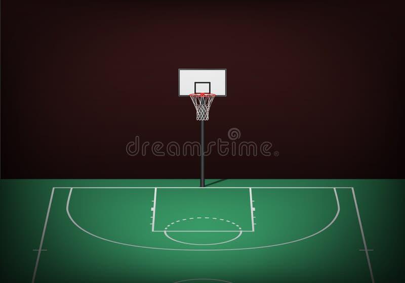 Basketbalhoepel op leeg groen hof vector illustratie
