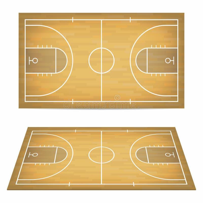 Basketbalhof met houten vloer Mening van hierboven en perspectief, isometrische mening vector illustratie