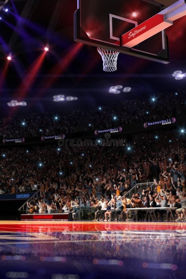 Basketbalhof met mensenventilator De arena van de sport 3d Photoreal geeft achtergrond terug blured in lang schot distancelike le royalty-vrije illustratie