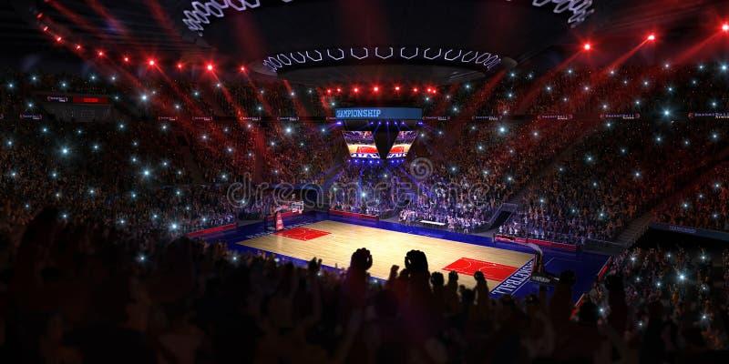 Basketbalhof met mensenventilator De arena van de sport 3d Photoreal geeft achtergrond terug blured in lang schot distancelike le stock afbeelding