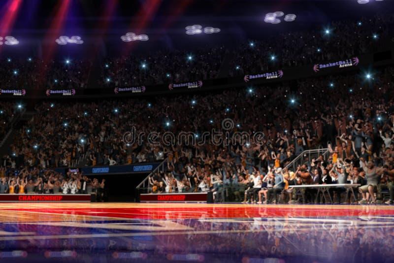 Basketbalhof met mensenventilator De arena van de sport 3d Photoreal geeft achtergrond terug blured in lang schot distancelike le stock illustratie