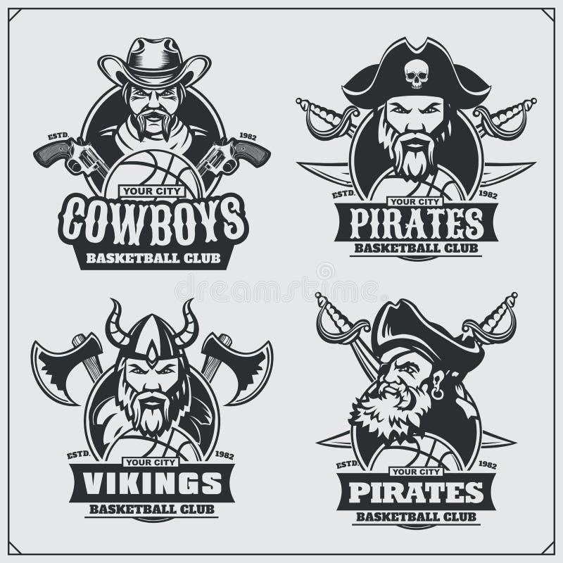 Basketbalkentekens, etiketten en ontwerpelementen De emblemen van de sportclub met piraat, cowboy en Viking stock illustratie