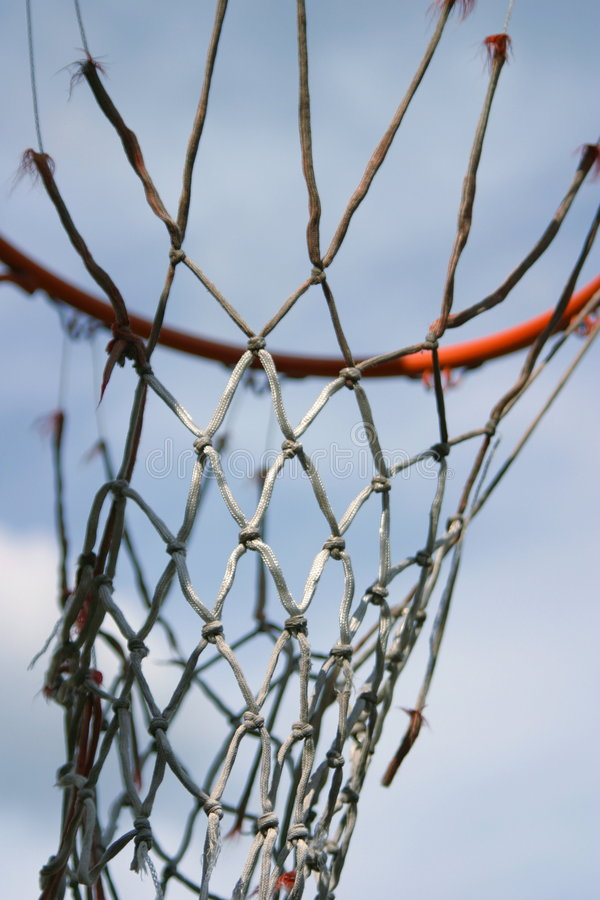 Basketball. A basketball hoop with an old net stock image