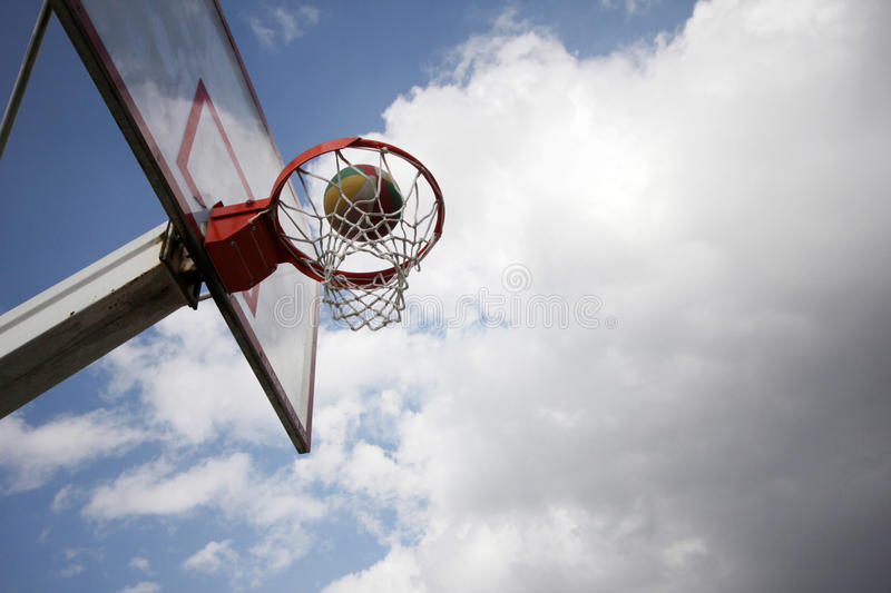 Basketball. Hoop on an outdoors court. Clear sky on a sunny day stock photos
