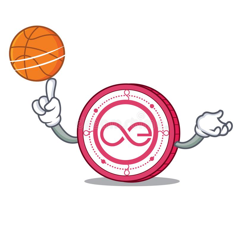 With basketball Aeternity coin character cartoon royalty free illustration