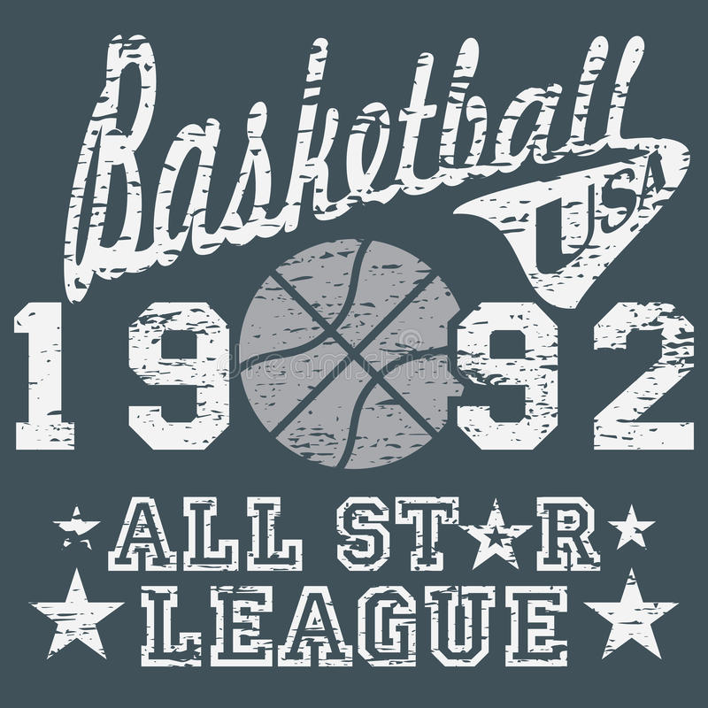 Basketball all star league artwork, typography poster, t-shirt Printing design, vector Badge Applique Label.  royalty free illustration
