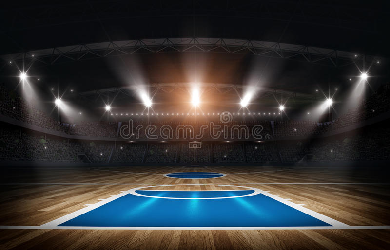 Basketball arena,3d rendering. The imaginary basketball arena is modeled and rendered stock illustration