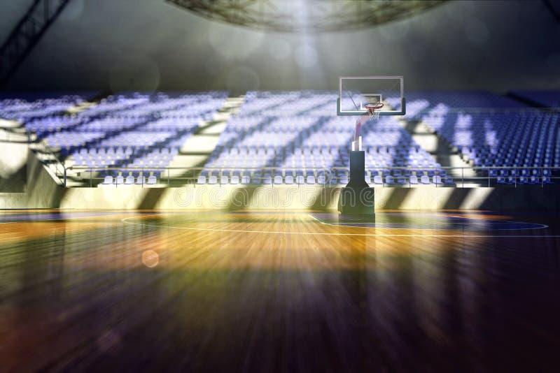 Basketball arena render. In blue toning stock illustration