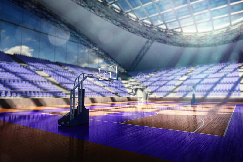 Basketball arena render. In blue toning royalty free illustration