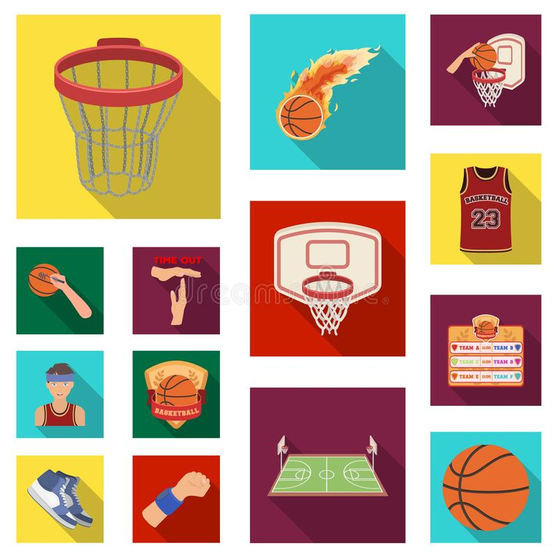 Basketball and attributes flat icons in set collection for design.Basketball player and equipment vector symbol stock stock illustration