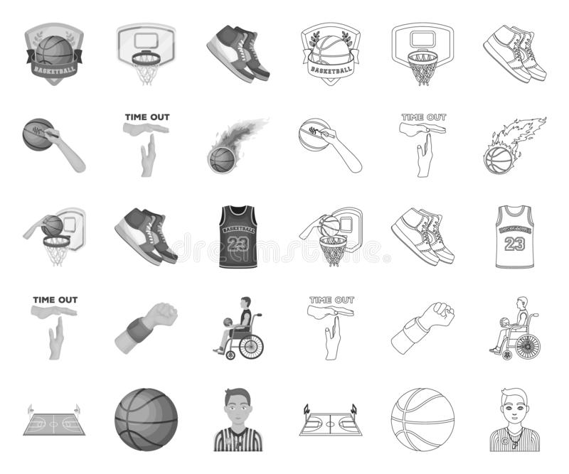 Basketball and attributes mono,outline icons in set collection for design.Basketball player and equipment vector symbol vector illustration