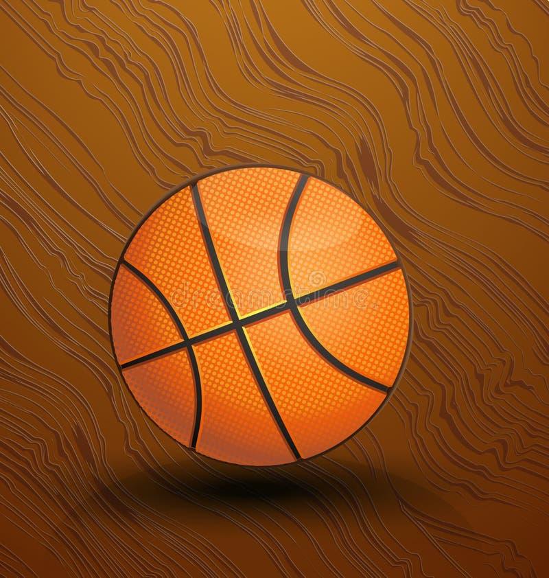 Basketball auf der Gerichtsikone vektor abbildung