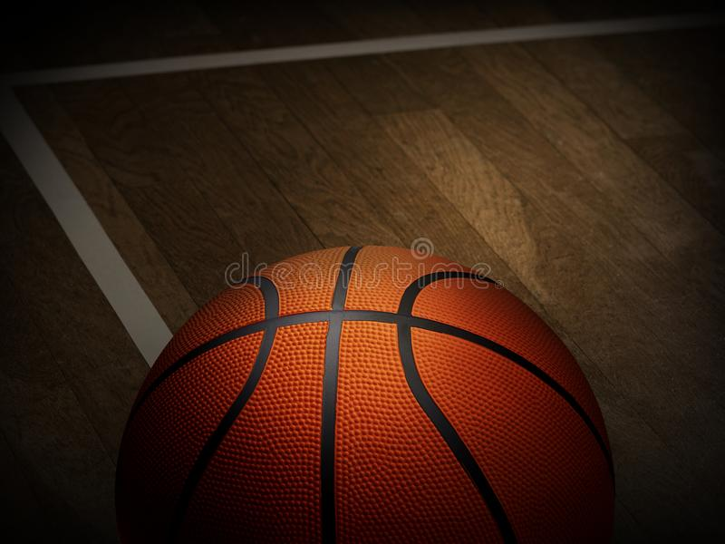 Basketball auf Holz im Turnhallenschwarzhintergrund stockbilder