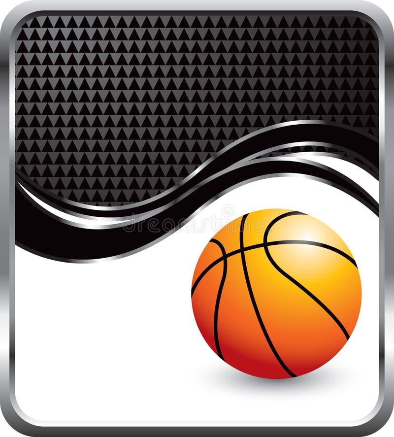 Basketball auf schwarzem checkered Wellenhintergrund vektor abbildung